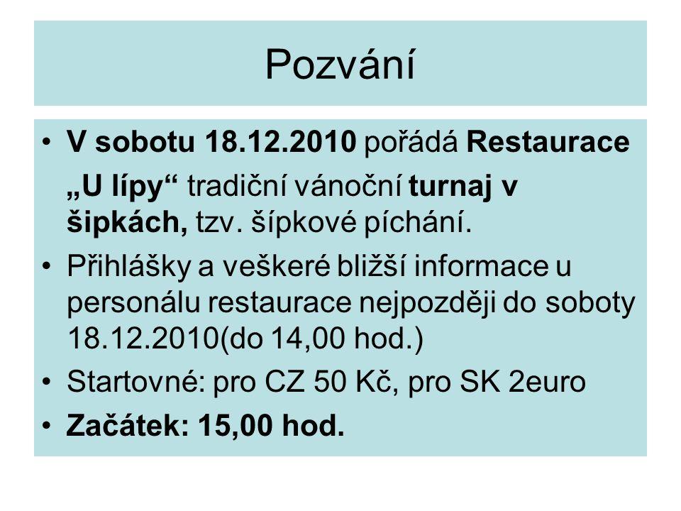 Pozvání V sobotu 18.12.2010 pořádá Restaurace
