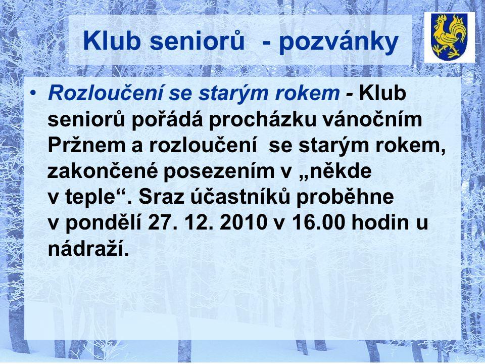 Klub seniorů - pozvánky