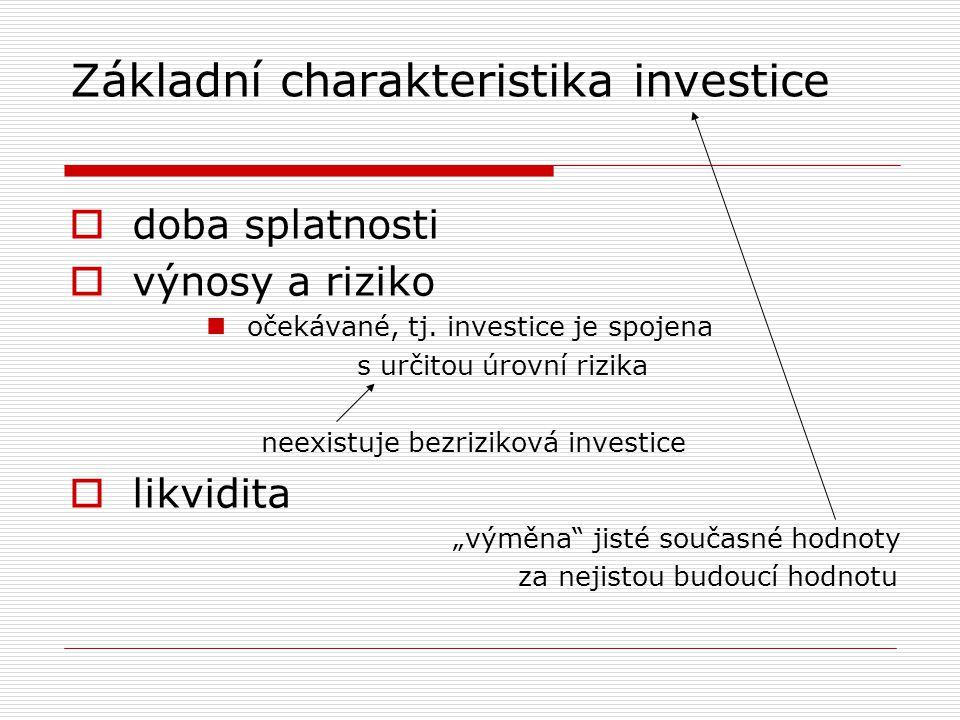 Základní charakteristika investice