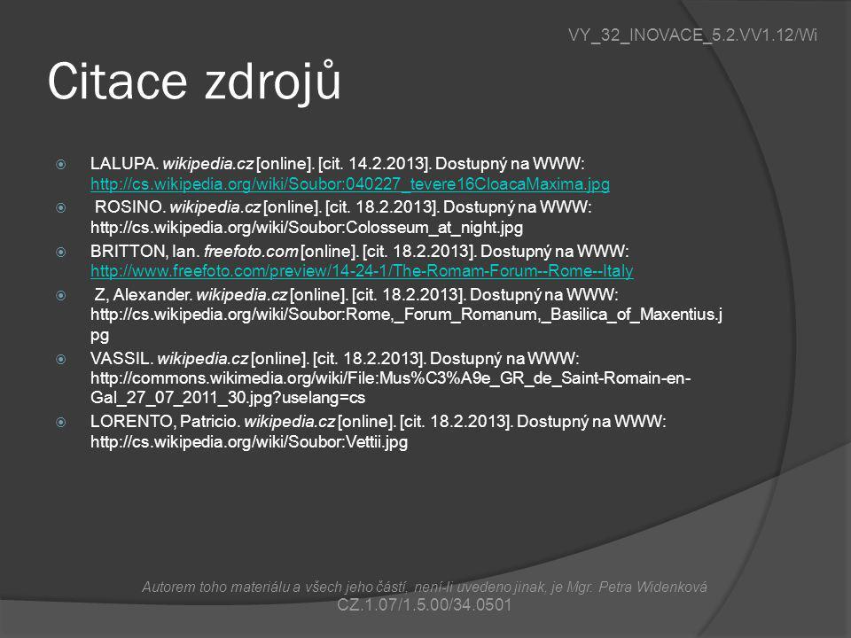 Citace zdrojů VY_32_INOVACE_5.2.VV1.12/Wi