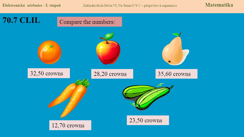 70.7 CLIL Compare the numbers: 32,50 crowns 28,20 crowns 35,60 crowns