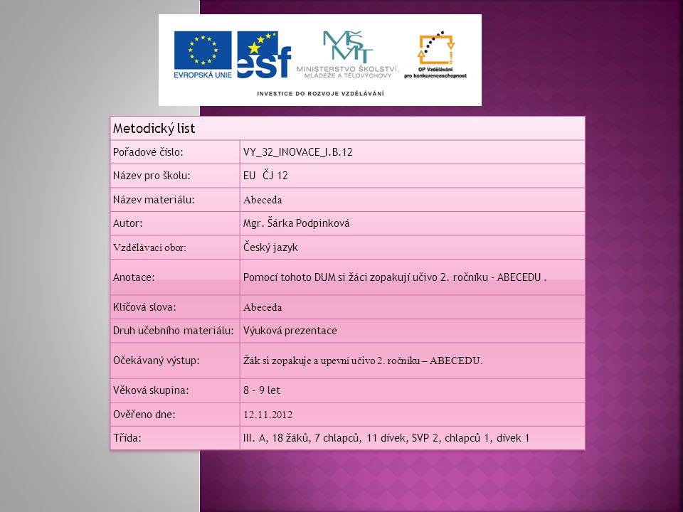 Metodický list Pořadové číslo: VY_32_INOVACE_I.B.12 Název pro školu: