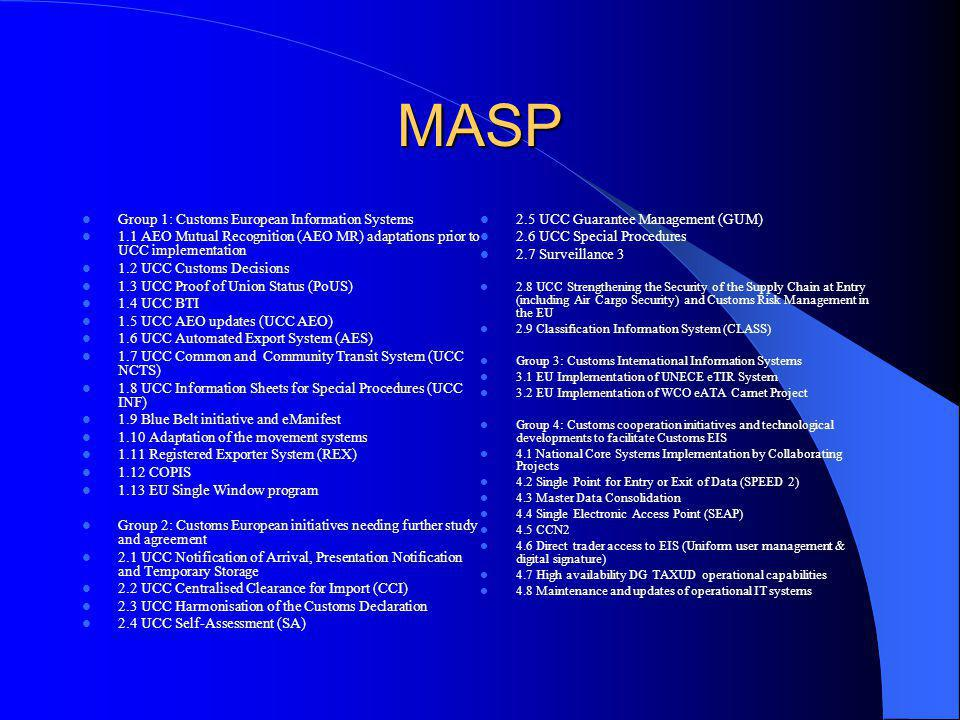 MASP Group 1: Customs European Information Systems