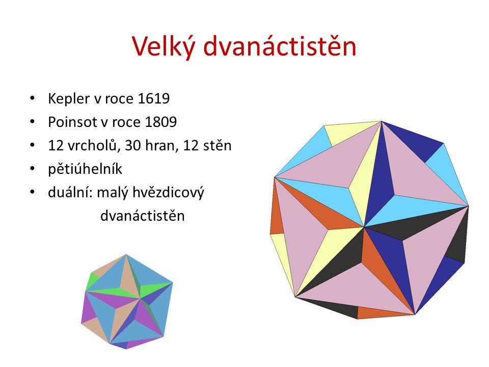 Velký dvanáctistěn Kepler v roce 1619 Poinsot v roce 1809