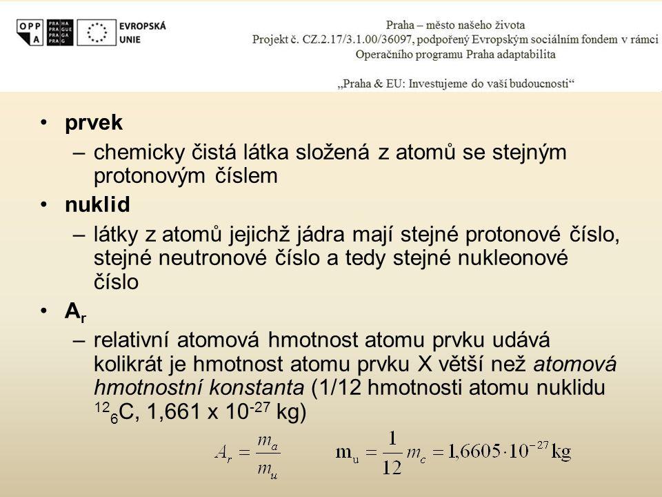 prvek chemicky čistá látka složená z atomů se stejným protonovým číslem. nuklid.