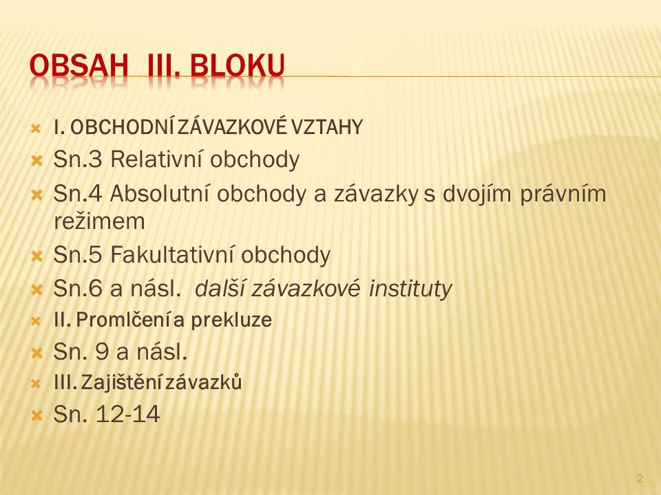 OBSAH III. BLOKU Sn.3 Relativní obchody