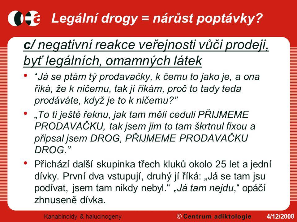 Legální drogy = nárůst poptávky