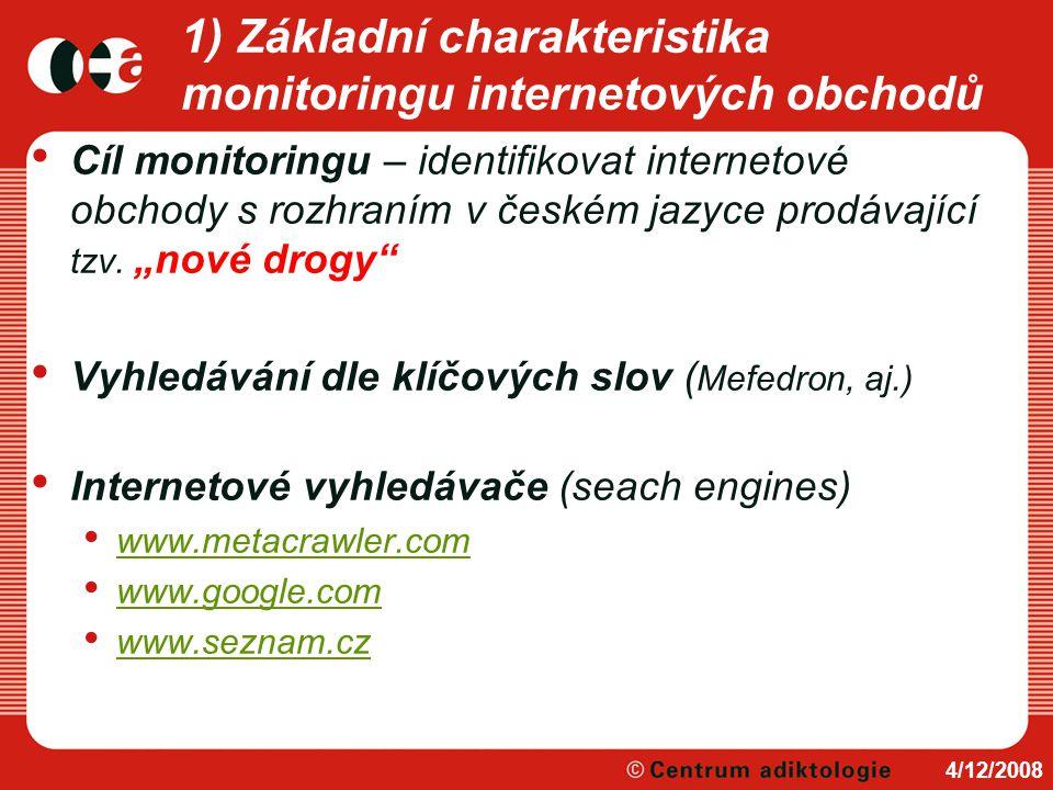 1) Základní charakteristika monitoringu internetových obchodů