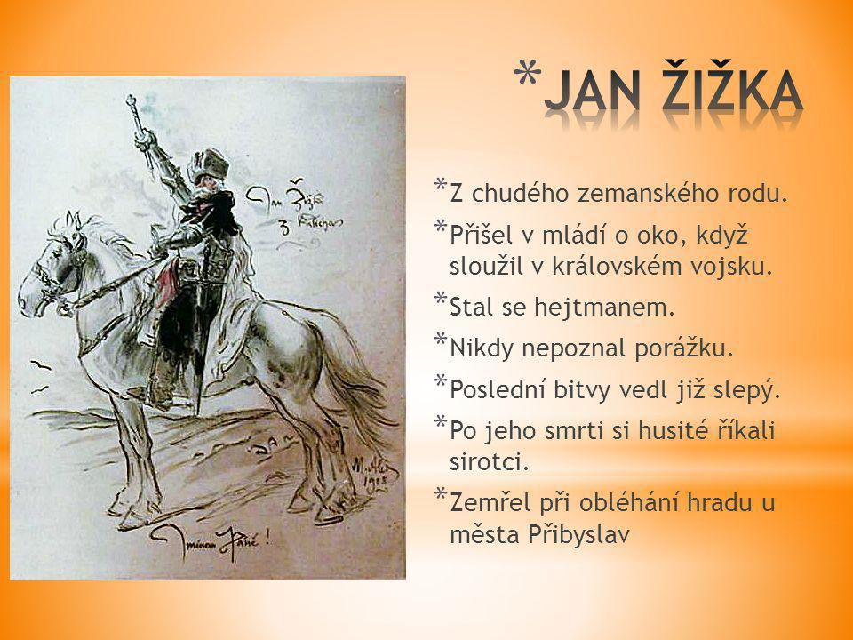 JAN ŽIŽKA Z chudého zemanského rodu.