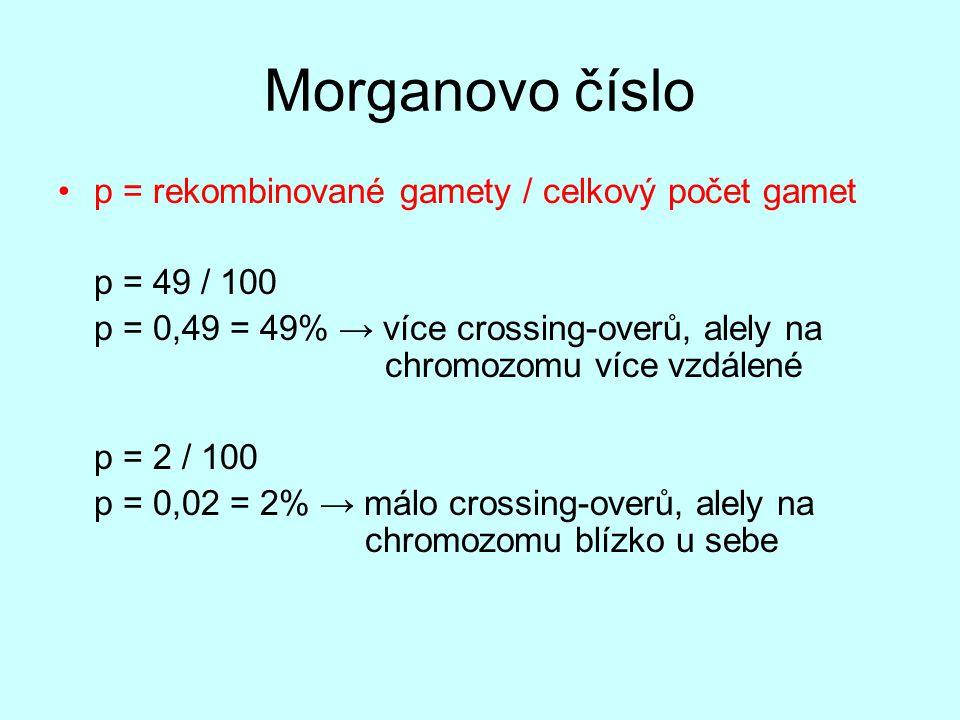 Morganovo číslo p = rekombinované gamety / celkový počet gamet