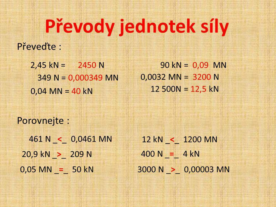 Převody jednotek síly Převeďte : Porovnejte : 2,45 kN = 2450 N