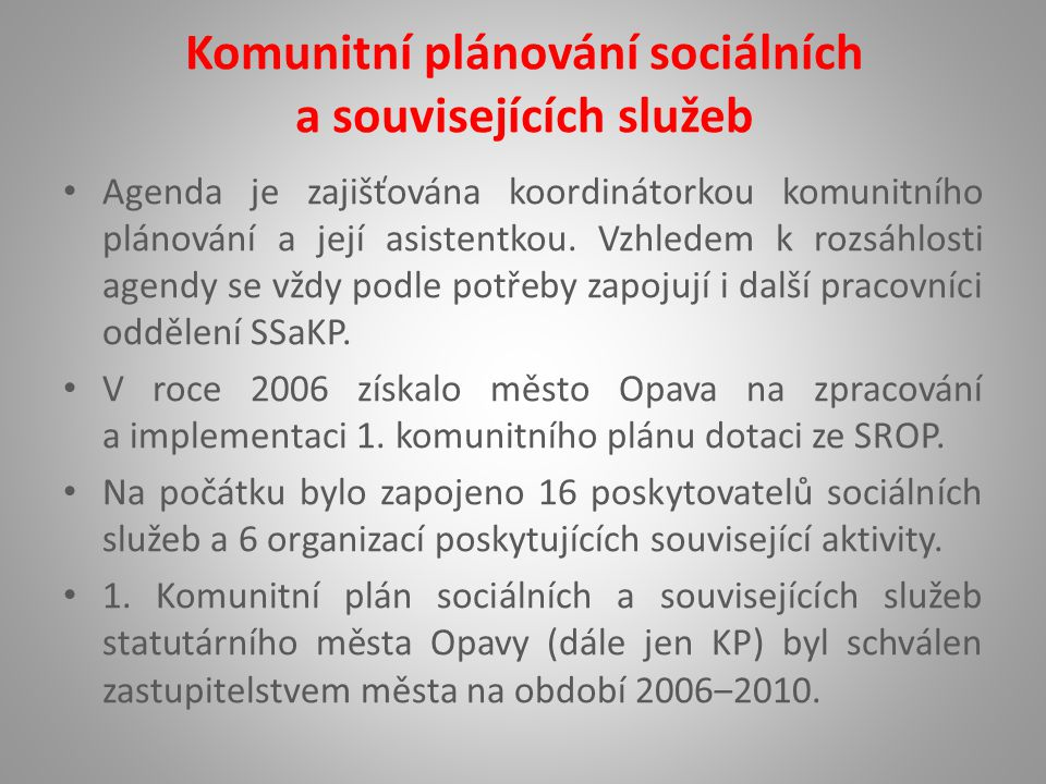 Komunitní plánování sociálních a souvisejících služeb