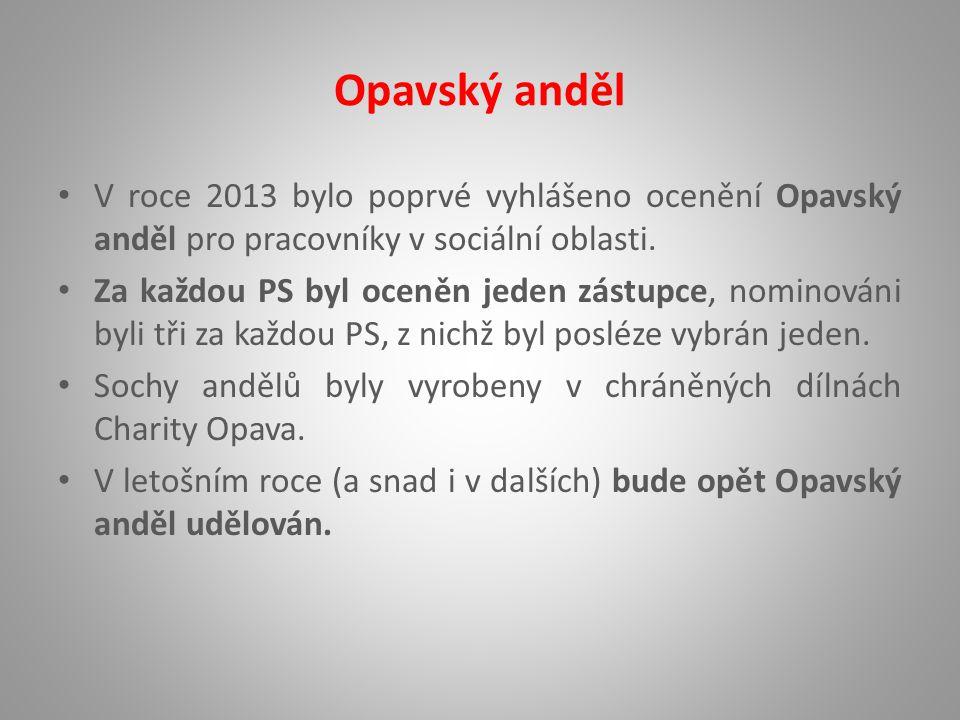 Opavský anděl V roce 2013 bylo poprvé vyhlášeno ocenění Opavský anděl pro pracovníky v sociální oblasti.