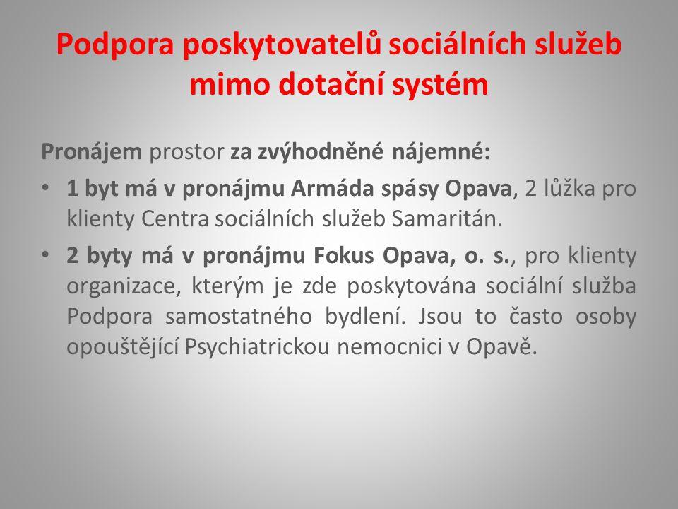 Podpora poskytovatelů sociálních služeb mimo dotační systém