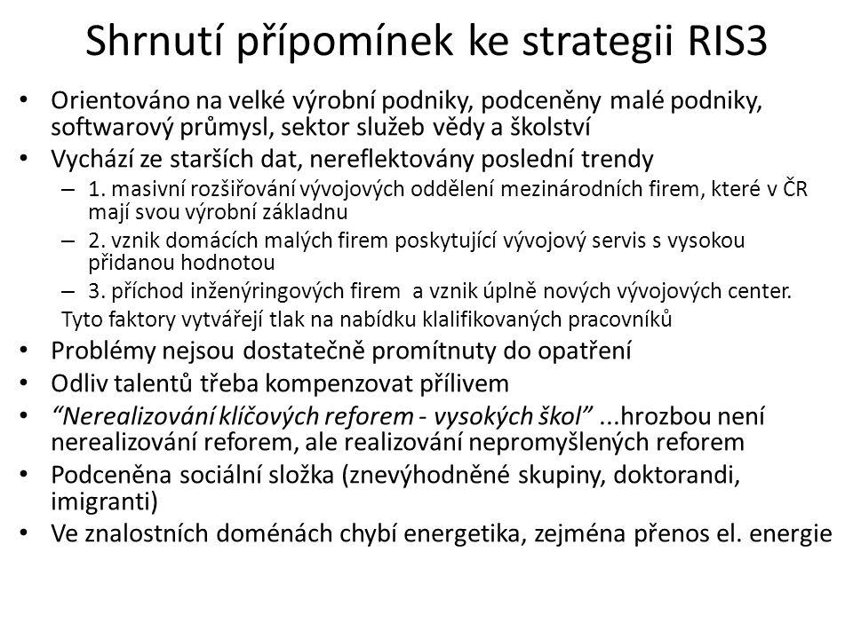 Shrnutí přípomínek ke strategii RIS3