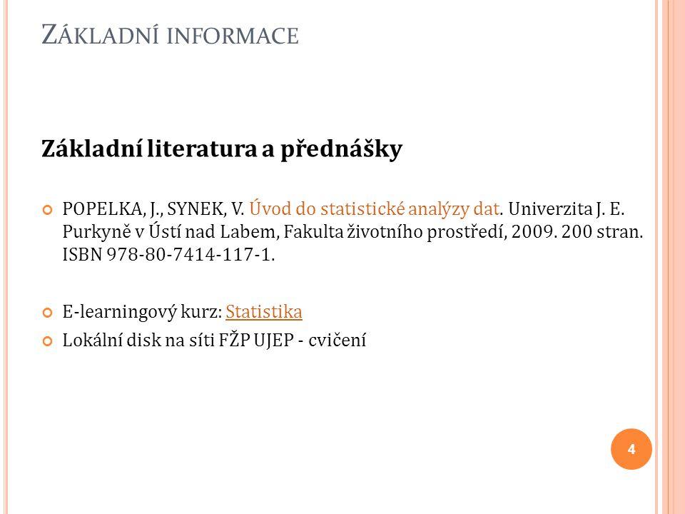 Základní informace Základní literatura a přednášky