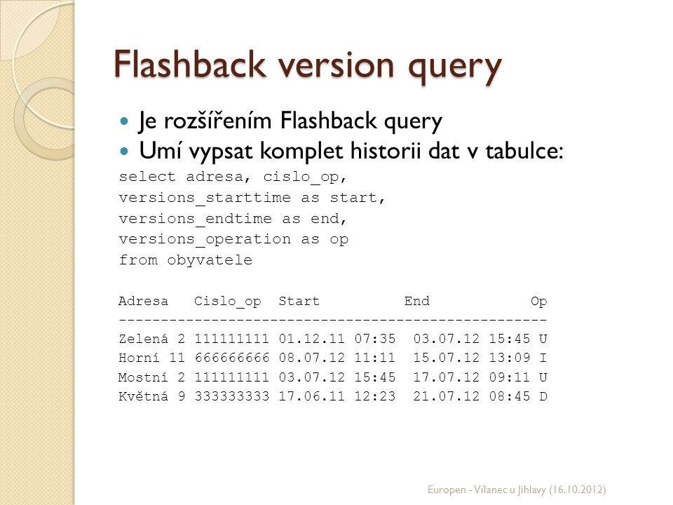 Flashback version query