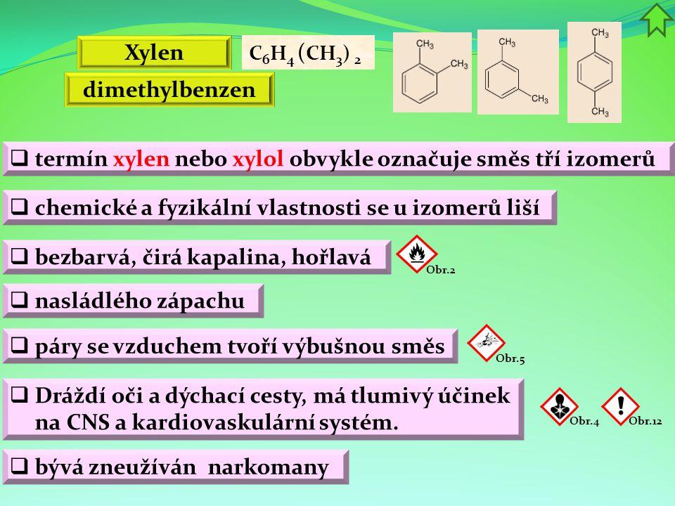 termín xylen nebo xylol obvykle označuje směs tří izomerů