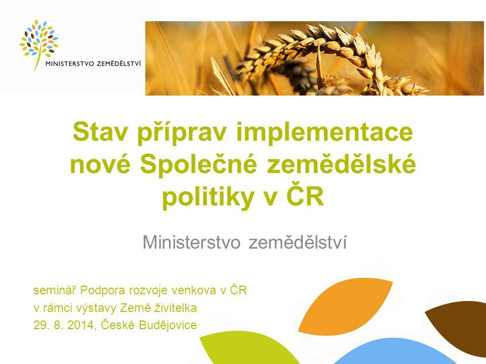 Stav příprav implementace nové Společné zemědělské politiky v ČR