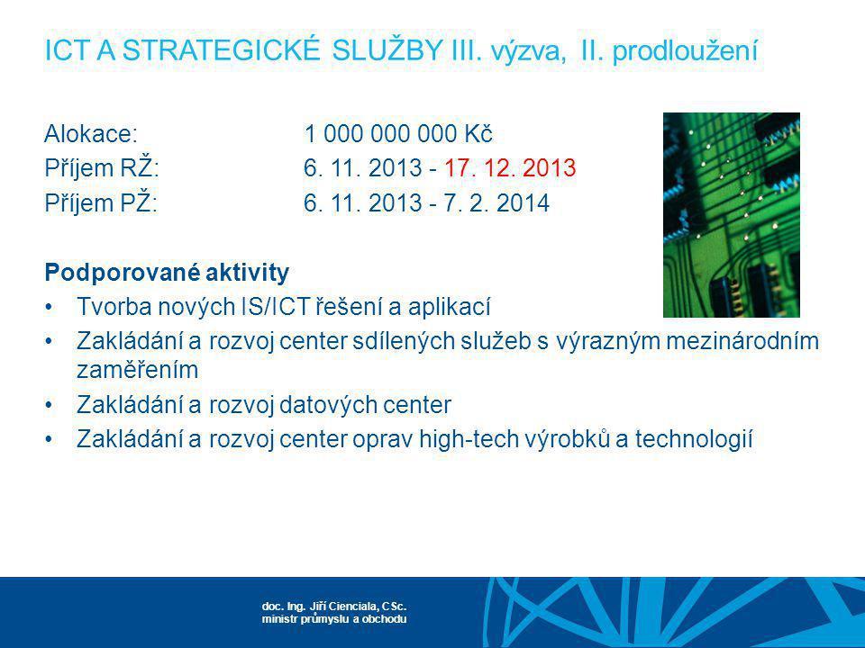 ICT A STRATEGICKÉ SLUŽBY III. výzva, II. prodloužení