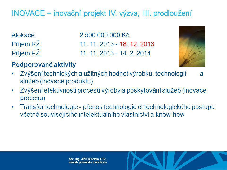 INOVACE – inovační projekt IV. výzva, III. prodloužení