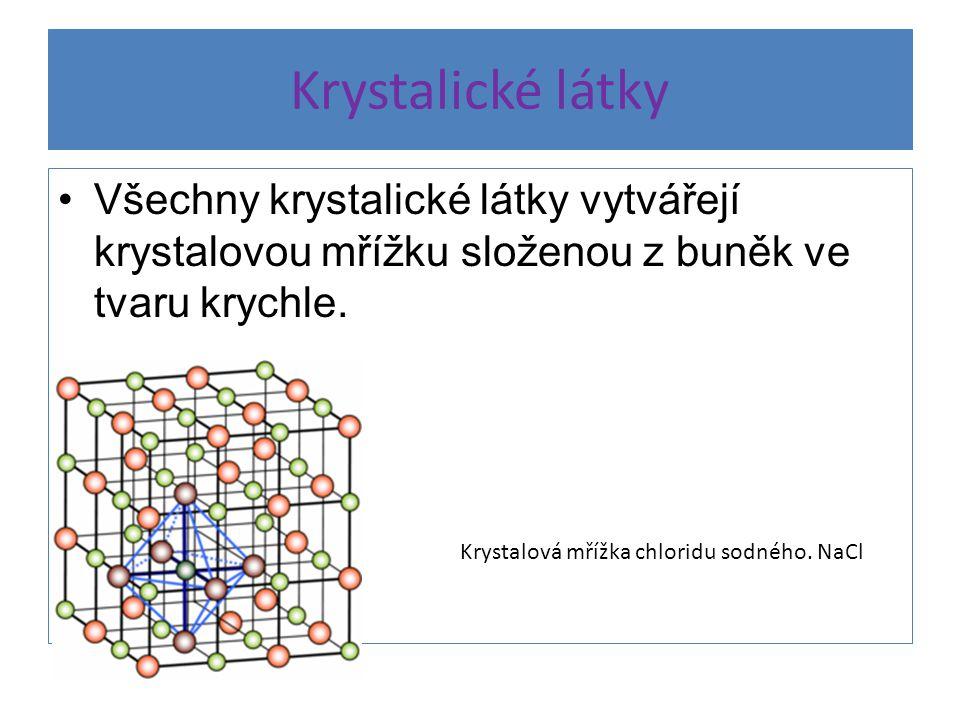 Krystalické látky Všechny krystalické látky vytvářejí krystalovou mřížku složenou z buněk ve tvaru krychle.