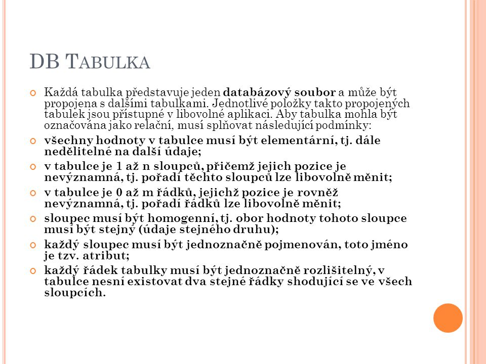 DB Tabulka