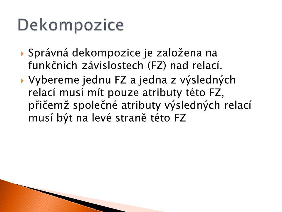 Dekompozice Správná dekompozice je založena na funkčních závislostech (FZ) nad relací.