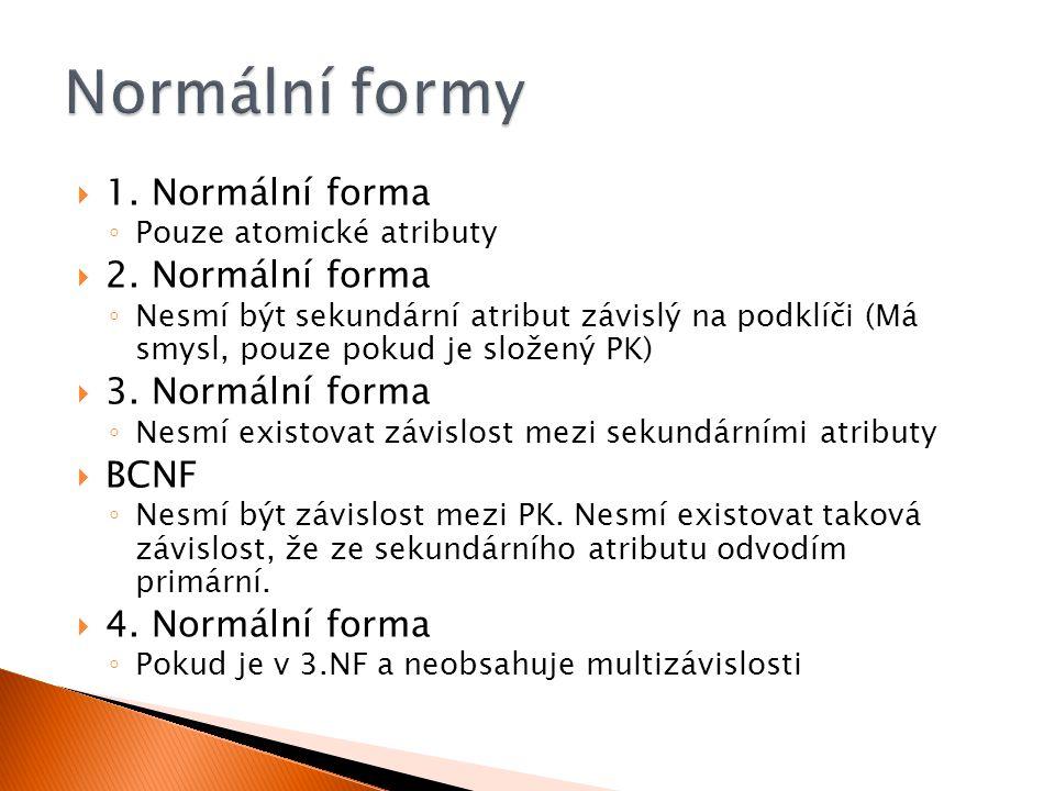 Normální formy 1. Normální forma 2. Normální forma 3. Normální forma
