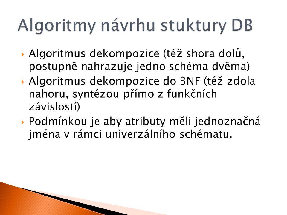 Algoritmy návrhu stuktury DB