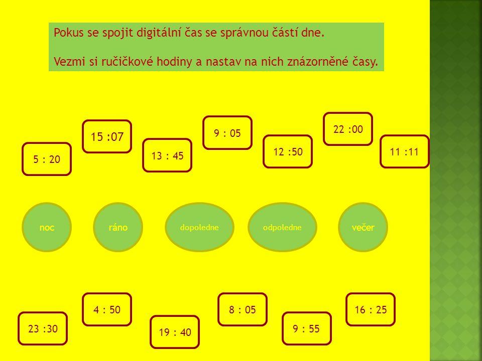 Pokus se spojit digitální čas se správnou částí dne.