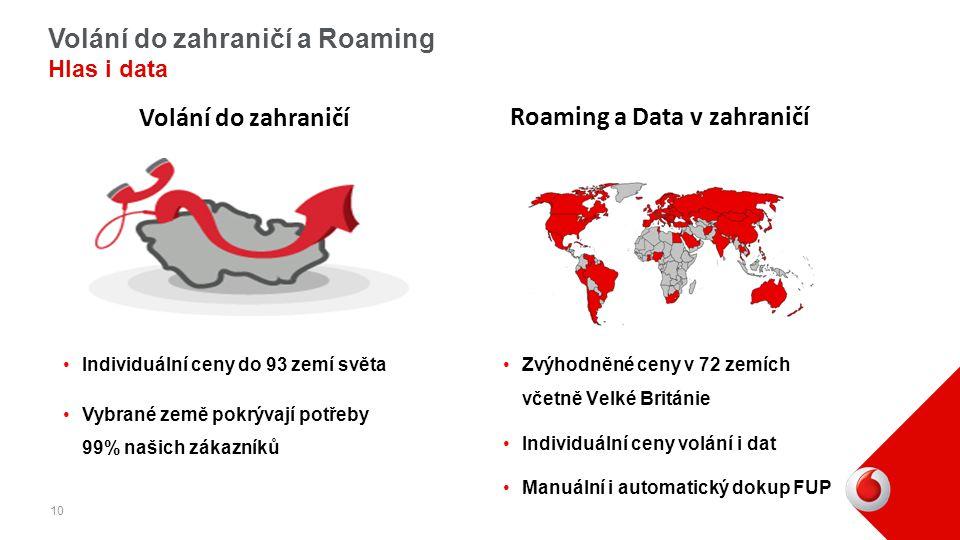 Volání do zahraničí a Roaming Hlas i data