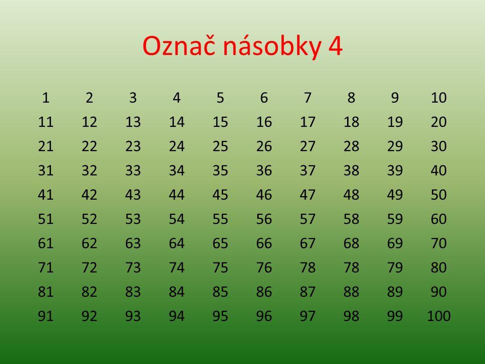 Označ násobky 4 1. 2. 3. 4. 5. 6. 7. 8. 9. 10. 11. 12. 13. 14. 15. 16. 17. 18. 19.