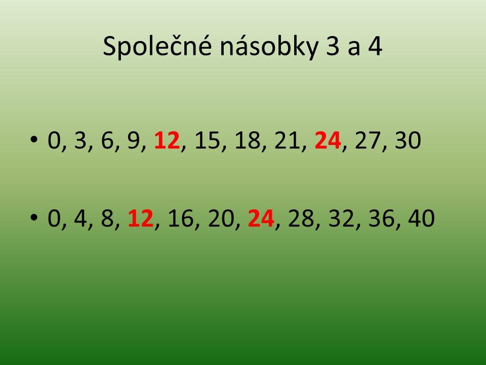Společné násobky 3 a 4 0, 3, 6, 9, 12, 15, 18, 21, 24, 27, 30.