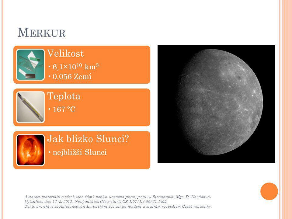 Merkur Velikost Teplota Jak blízko Slunci 6,1×1010 km3 0,056 Zemí