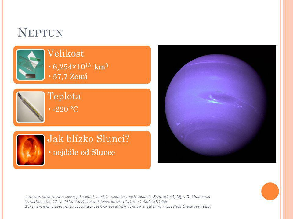 Neptun Velikost Teplota Jak blízko Slunci 6,254×1013 km3 57,7 Zemí