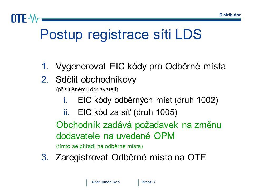 Postup registrace síti LDS
