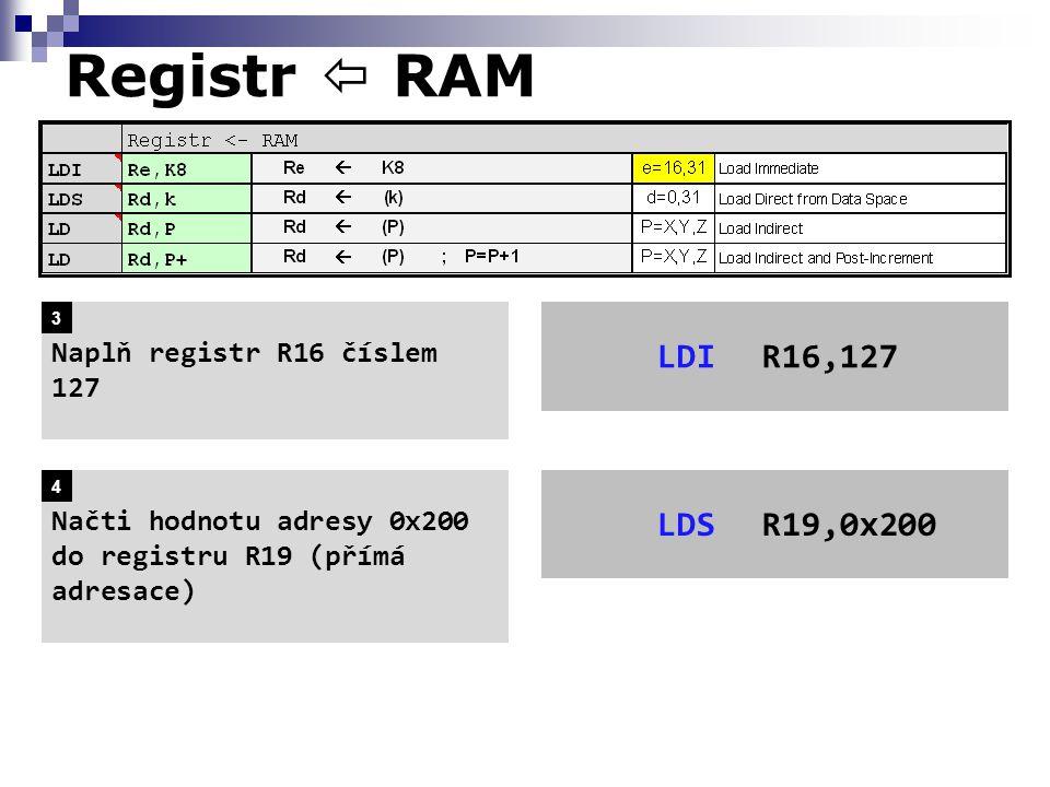 Registr  RAM LDI R16,127 LDS R19,0x200 Naplň registr R16 číslem 127