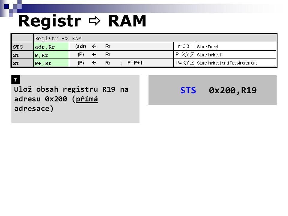Registr  RAM Ulož obsah registru R19 na adresu 0x200 (přímá adresace) 7 STS 0x200,R19
