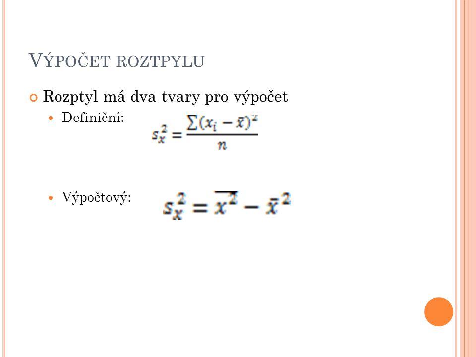 Výpočet roztpylu Rozptyl má dva tvary pro výpočet Definiční: