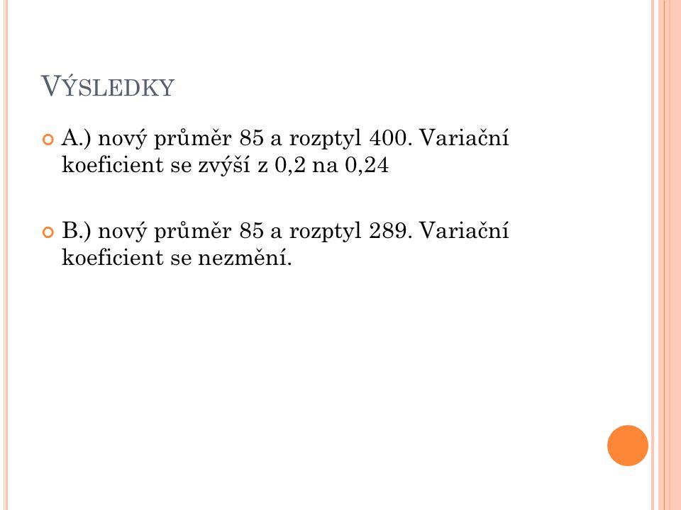 Výsledky A.) nový průměr 85 a rozptyl 400. Variační koeficient se zvýší z 0,2 na 0,24.