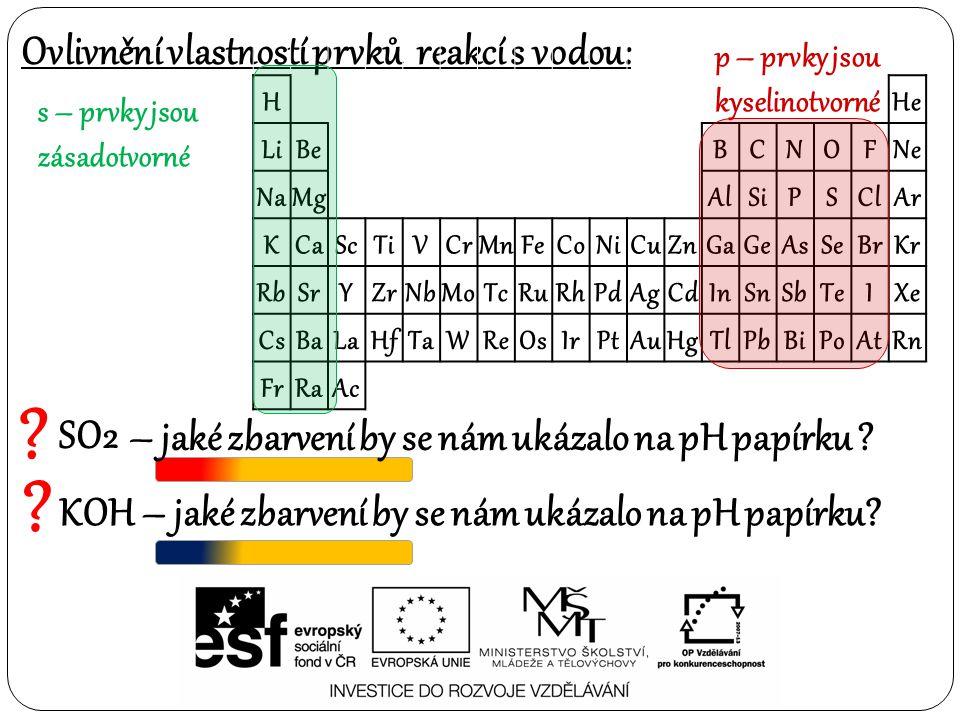 Ovlivnění vlastností prvků reakcí s vodou: SO2