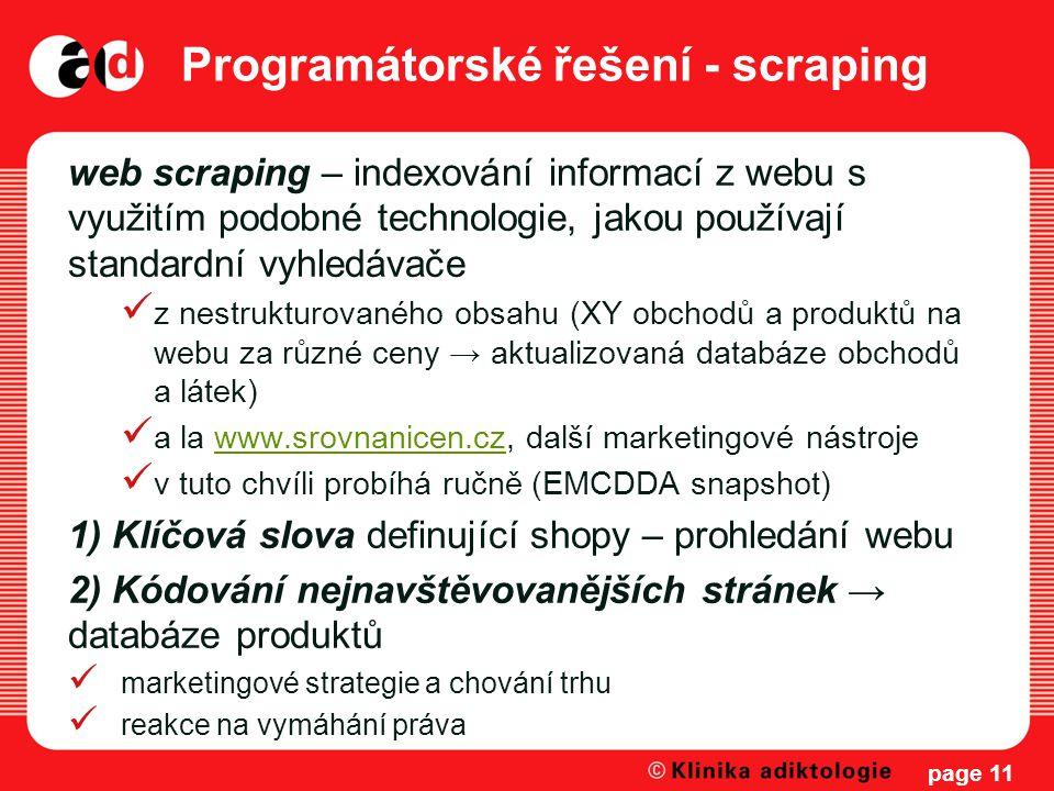 Programátorské řešení - scraping