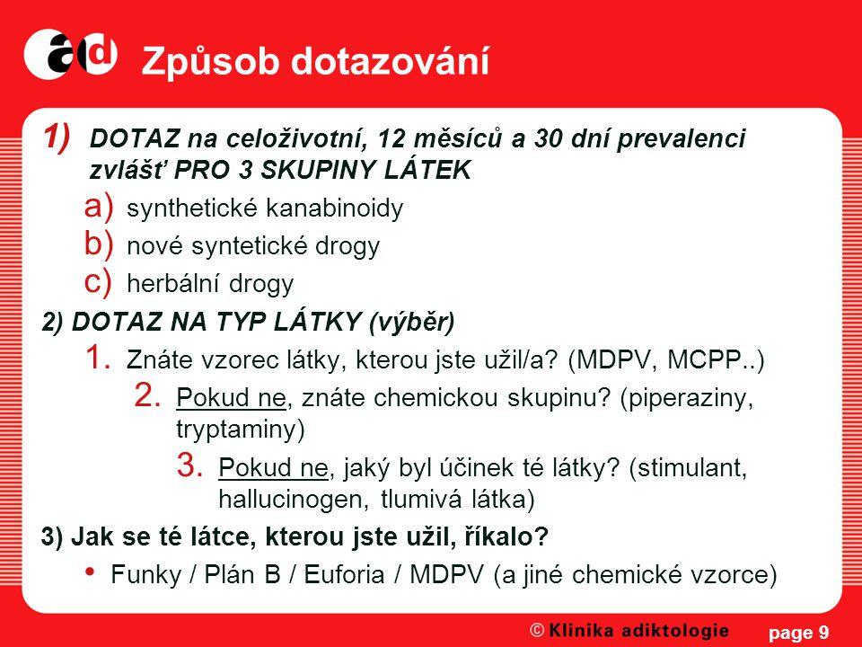 Způsob dotazování DOTAZ na celoživotní, 12 měsíců a 30 dní prevalenci zvlášť PRO 3 SKUPINY LÁTEK. synthetické kanabinoidy.