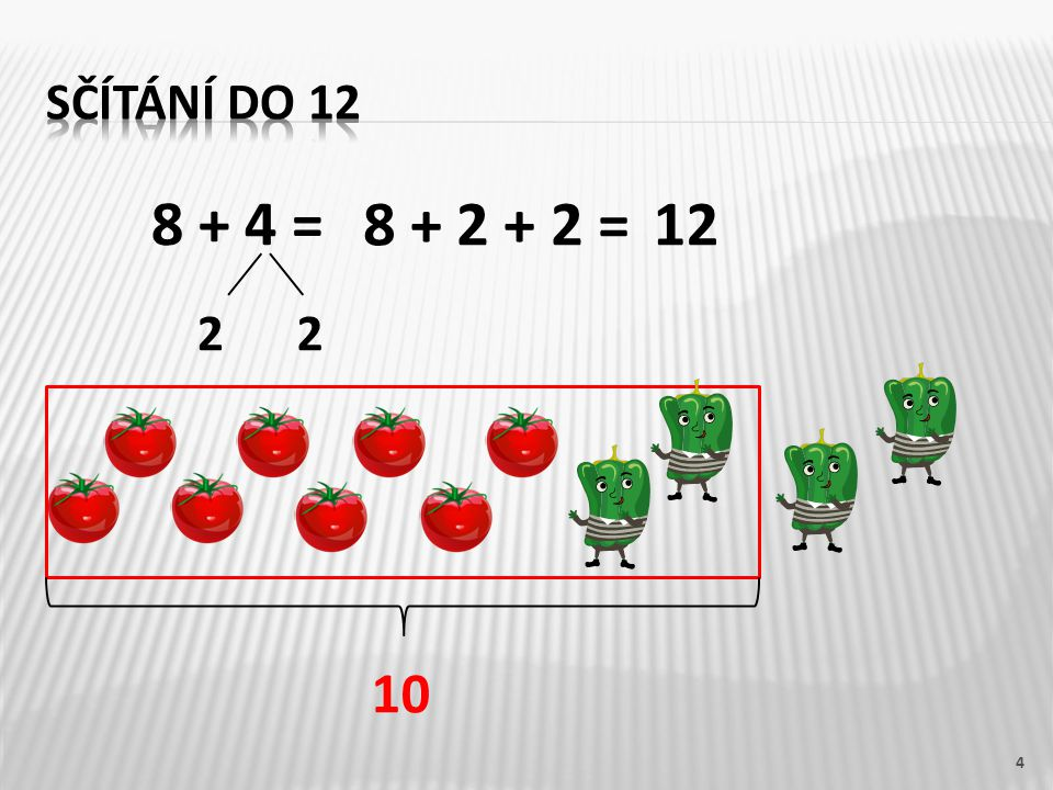Sčítání do 12 8 + 4 = 8 + 2 + 2 = 12 2 2 10