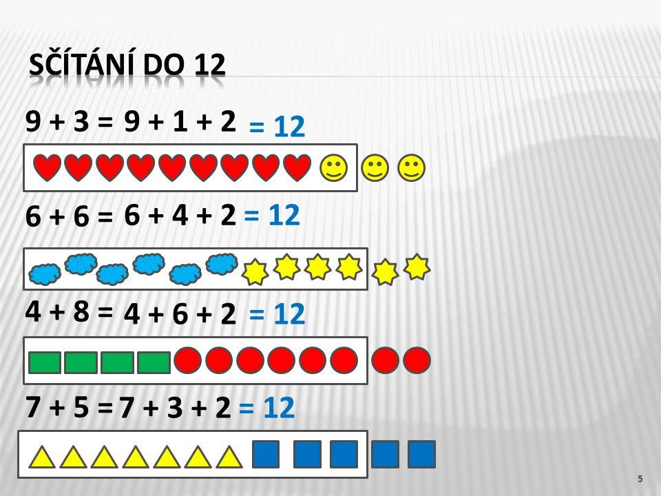 Sčítání do 12 9 + 3 = 6 + 6 = 4 + 8 = 7 + 5 = 9 + 1 + 2. = 12. 6 + 4 + 2. = 12. 4 + 6 + 2. = 12.