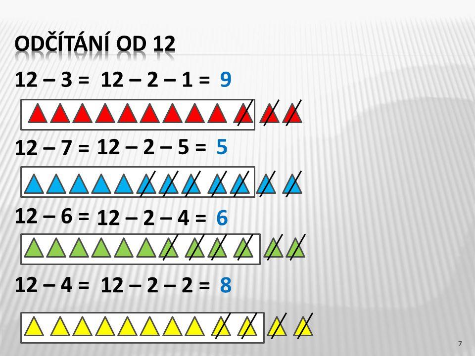 odčítání od 12 12 – 3 = 12 – 7 = 12 – 6 = 12 – 4 = 12 – 2 – 1 = 9. 12 – 2 – 5 = 5. 12 – 2 – 4 =