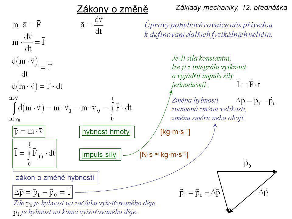 Zákony o změně Úpravy pohybové rovnice nás přivedou