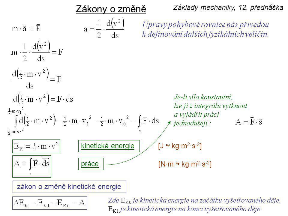 zákon o změně kinetické energie