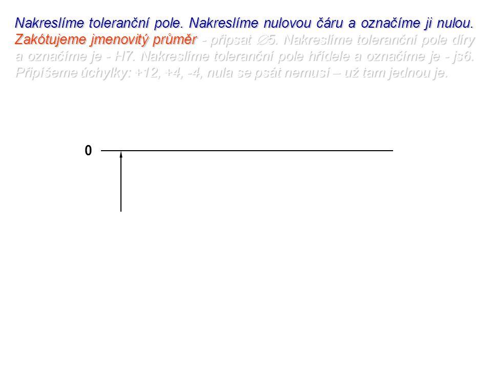 Nakreslíme toleranční pole. Nakreslíme nulovou čáru a označíme ji nulou.